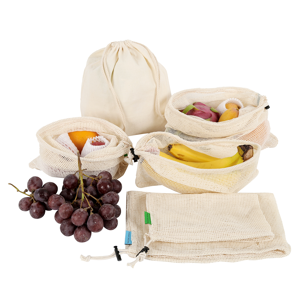 6 Pcs Cotton Mesh Vegetable Bags Produce Bag Reusable Cotton Mesh Vegetable Storage Bag Kitchen Fruit Vegetable With Drawstring