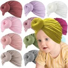 Lote de 12 gorros de Donut para bebé, lazos acanalados, gorro de algodón elástico para recién nacido, gorros con nudo redondo para niño, sombreros de turbante para niña y niño 2020