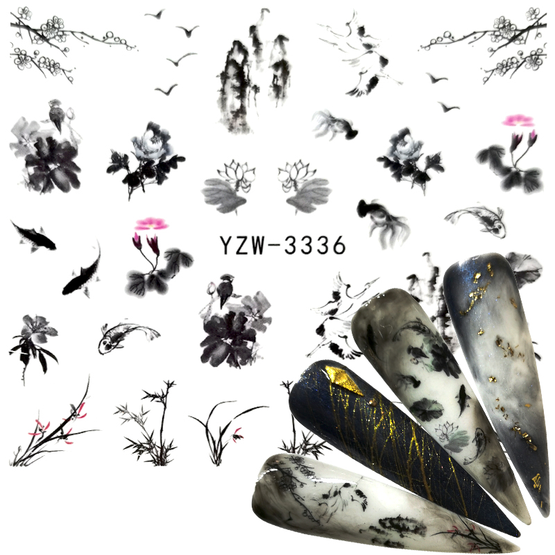 YZWLE 1 Sheet Chinese Landscape Painting Style Fish Floral Bird Adhesive Nail Art Stickers Decorations DIY Salon Tips