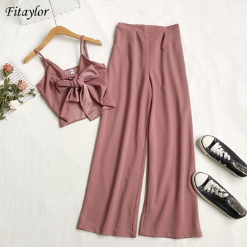Fitaylor Summer New Arrival Women Casual Two Piece Sets Sexy V-neck Pleated Short Sling Top High Waist Loose Wide Leg Pants 1