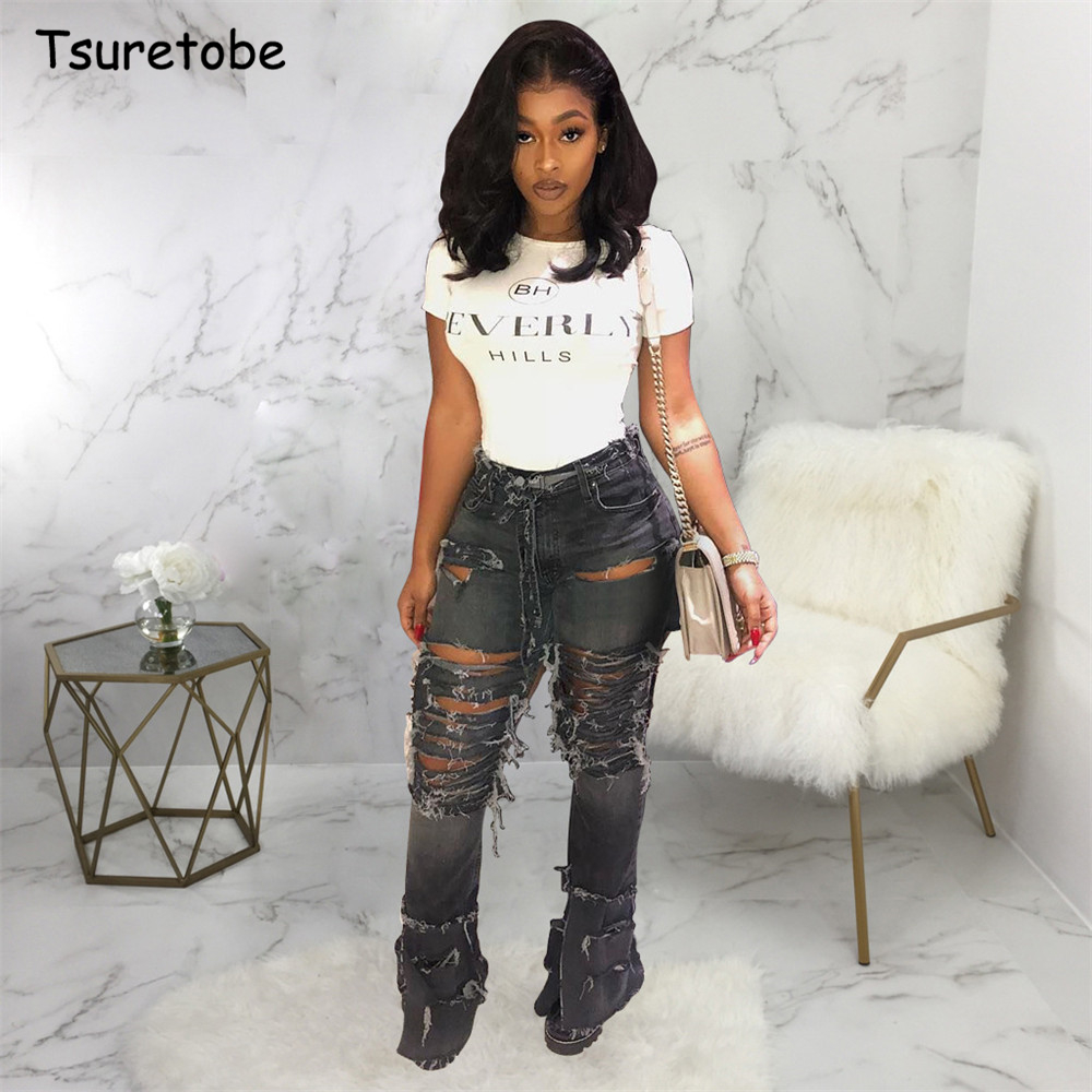 Tsuretobe Plus Size Sexy Hole Ripped Flare Jeans Women Streetwear High Waist Wide Leg Denim  Pants Bell-Bottoms Trousers Female