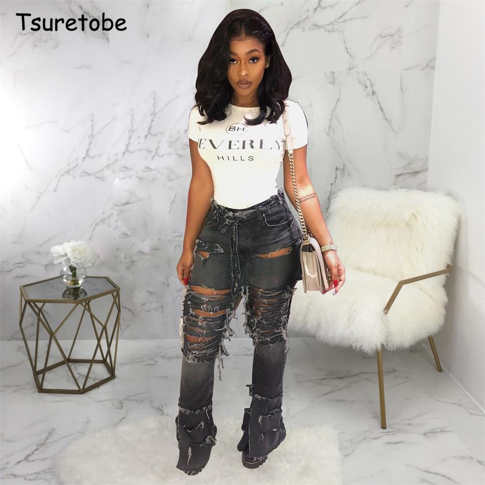 Tsuretobe Plus Size Sexy Hole Ripped Flare Jeans Women Streetwear High Waist Wide Leg Denim  Pants Bell-Bottoms Trousers Female