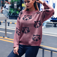 InstaHot Pink Cat Embroidery Sweater Women Casual Round Neck Office Lady Jumper Autumn Female Campus Highstreet Pullover