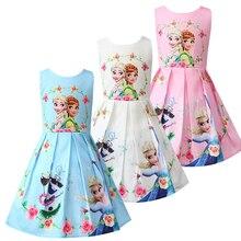 купить Baby Girl clothes Queen Princess Anna Elsa Dress children girl Party Dress Kids Elza Costume Kids Flower Clothes 50020 по цене 713.19 рублей