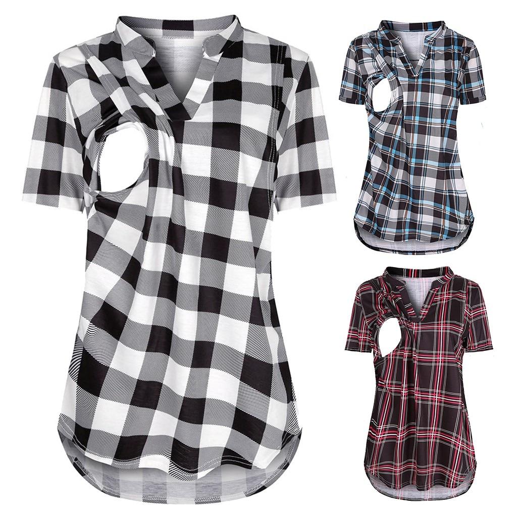 Maternity T-shirts Summer Breastfeeding Tops Short Sleeve Plaid Print Nursing Pregnancy Tshirt Clothes For Pregnant Women 2020