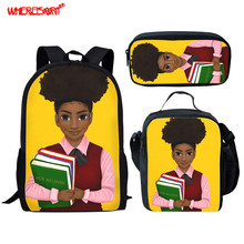 WHEREISART School Bags Sets Africa Princess Girls Lady School Shoulder Bags Kids Large Capacity School Backpacks for Teen Girls cheap Polyester zipper 300g 44inch cartoon CGK custom unisex 13cm 28cm As The Picture Show 3D Image Pattern Book Bags For Children