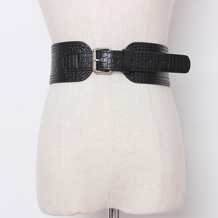Women's Runway Fashion Double Side Pu Leather Cummerbunds Female Dress Coat Corsets Waistband Belts Decoration Wide Belt R2180