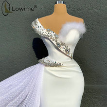 Dubai Ivory Mermaid Evening Dresses One Shoulder Crystal Feathers Satin Evening Gowns Long Formal Dress