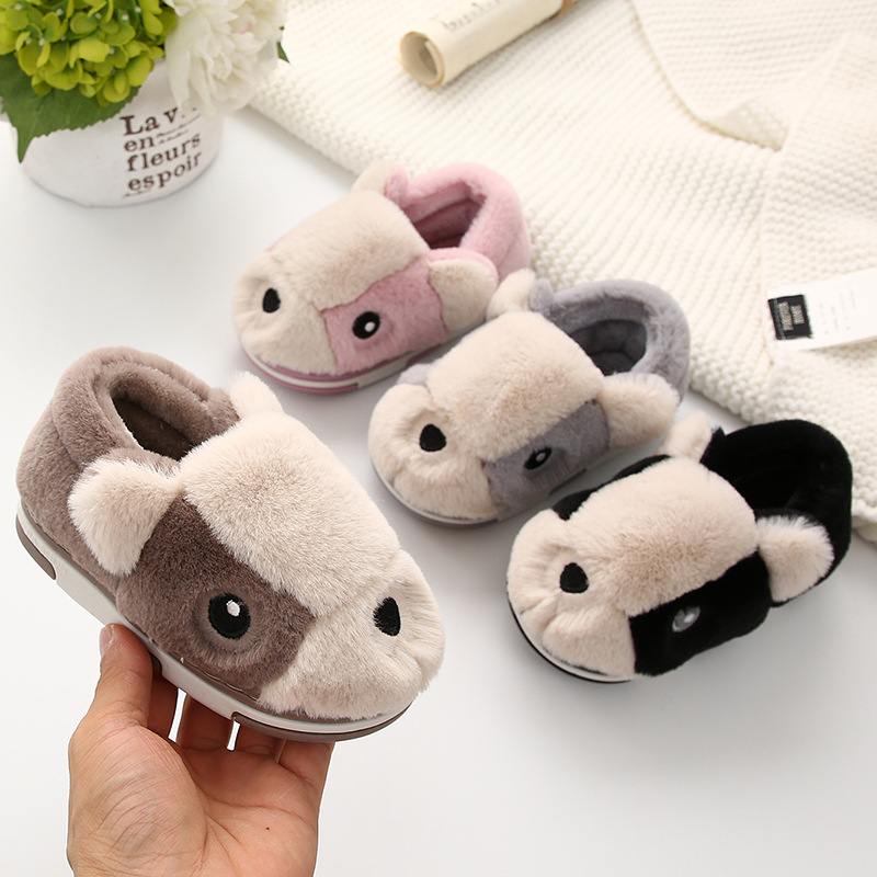 Girls Fur Slippers Children Warm Home Shoes Toddler Boys Cartoon Slippers Casual Indoor Shoes Kids Winter Slipper Pantuflas