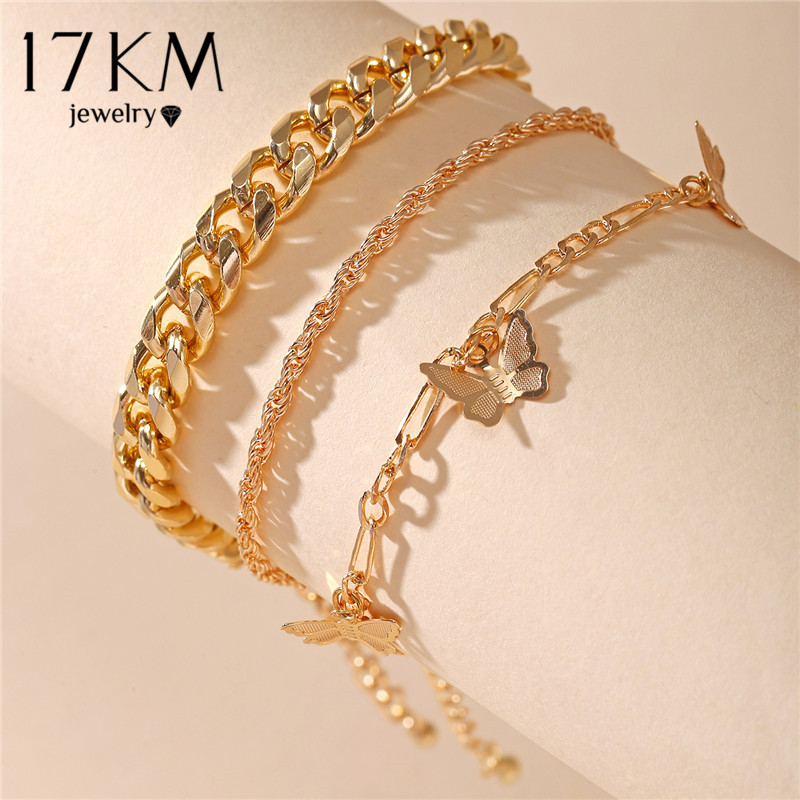 17KM Fashion Butterfly Anklet Set for Women DIY Gold Chain AnkletS 2021 Heart Foot Bracelet Beach Anklet Bohemian Jewelry 1