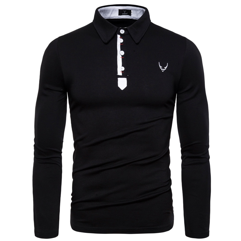 2019 new autumn lapel long-sleeved Polo shirt mens solid color fashion simple on the stage long sleeve