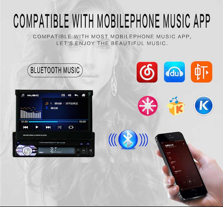 """1 Din 7 """"ユニバーサルカーラジオ GPS ナビゲーション Autoradio Bluetooth 格納式タッチスクリーン MP5 ステレオオーディオ"""