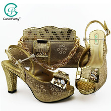 2019 African Special Design Ladies Shoes and Bag Set Gold Color Italian design Shoes with  Bags Comfortable Heels Women Shoes