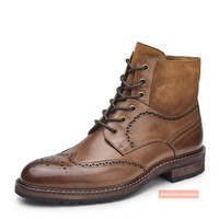 Laceup Half Brogue Boots Full Brogue Leather Shoes High Class Cow Skin Cool Man Boot High Top Rich Business Man Royal Boots