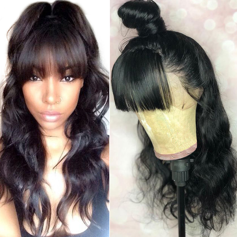 Dolago Wig Bangs Human-Hair-Wigs Lace-Frontal Fake Scalp Body-Wave 250-Density Pre-Plucked