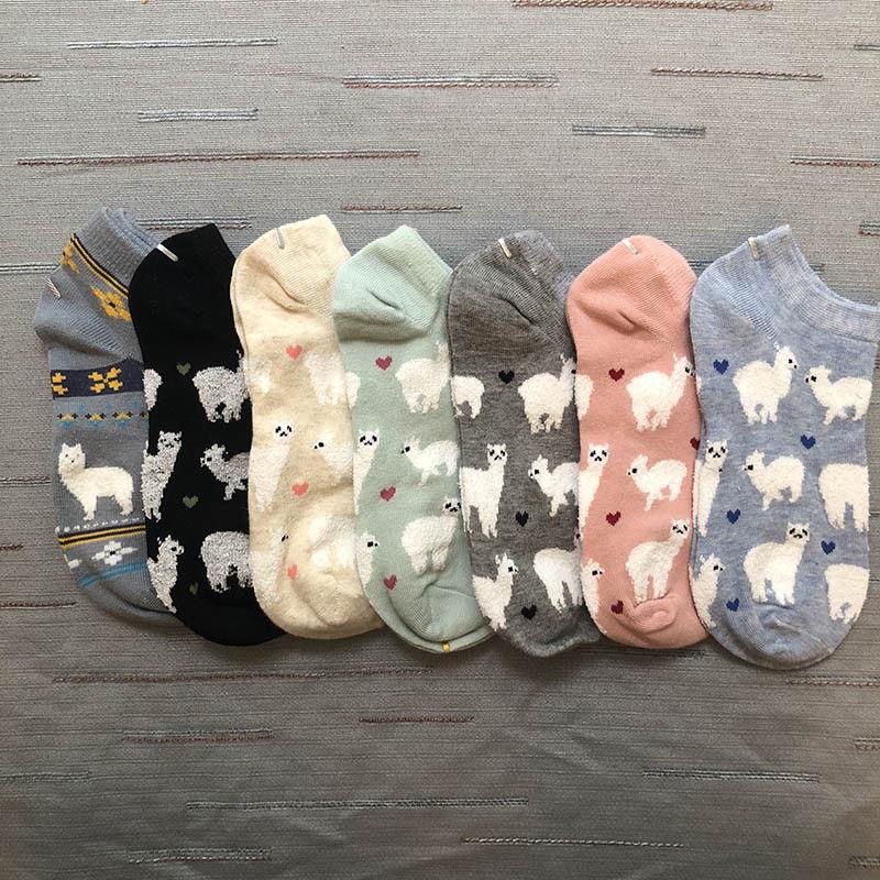 Freeshipping Short Ankle Invisible Tiny Alpaca Love Hearts Socks Farm Zoo Animal Llama Like Fluffy Sheep Comfortable Cozy Cotton