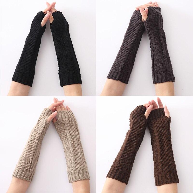 1 Pair Fold Pattern Knit Arm Warmer Gloves Winter Autumn Stripe Arm Wrist Sleeve Mittens Women Men's Fingerless Sleeve Holder