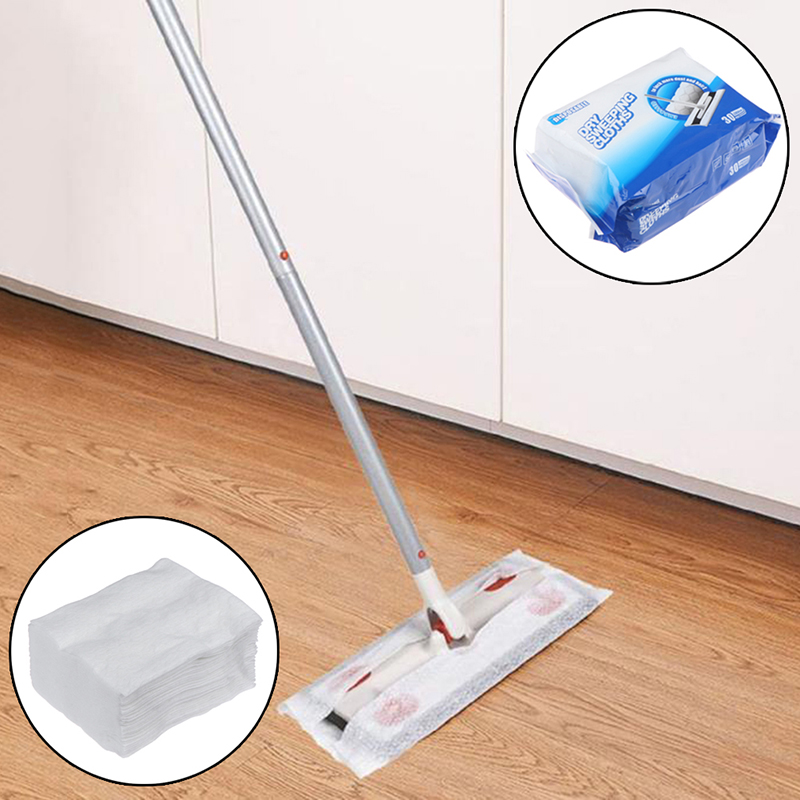 30pcs/bag Toilet Paper Disposable Electrostatic Dust Removal Mop Paper Kitchen Cleaning Cloth