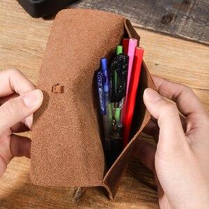Image 5 - רטרו עור רול עיפרון מקרי עור נרתיק מרקם תלמיד עיפרון שקיות משרד ספר מכתבים escolar