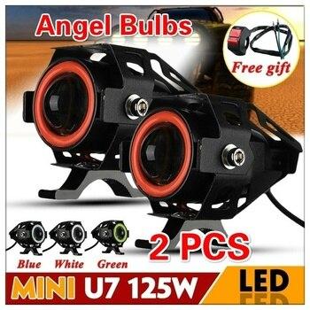 1 Pair 125W Mini U7 LED Motorcycle Spotlight Angel Light Motorcycle Scooter Motorcycle Light