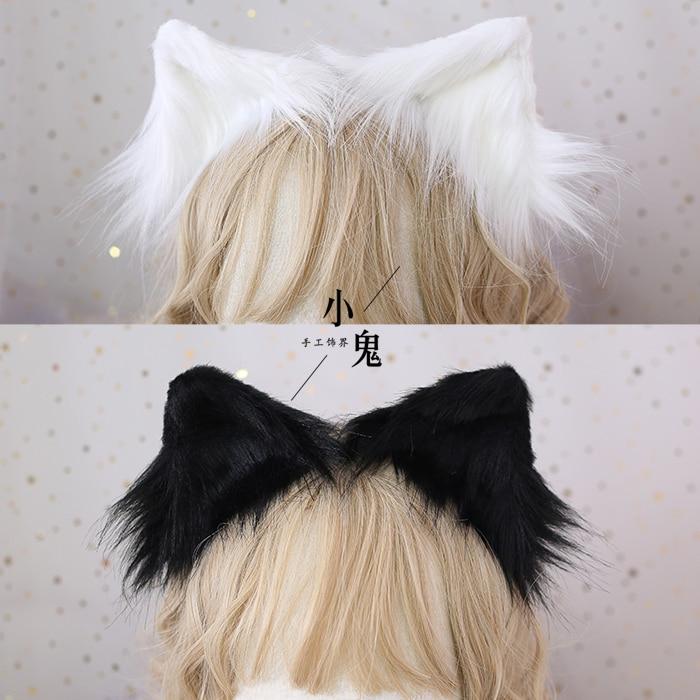 Simulation Animal Beast Ears Hairpin Headdress Cosplay Soft Girl Lovely Plush Detachable Cat Ear Lolita Hair Accessory Props