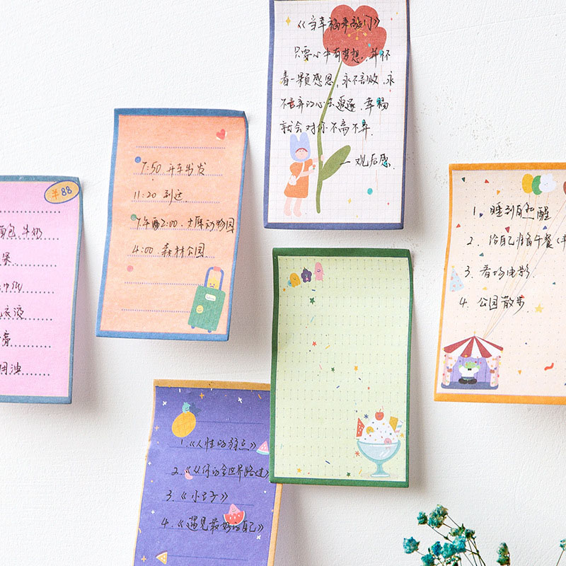 30Pcs Kawaii Cartoon Sticky Notes Cute Colored Shopping List Plan  Memo Pads Writing Stickers For Kid Stationery School Supplies