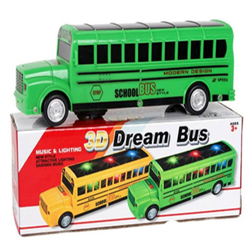 Electric Universal School Bus Children Model Toy Car Bus Boy Universal 3D Light And Music School Bus