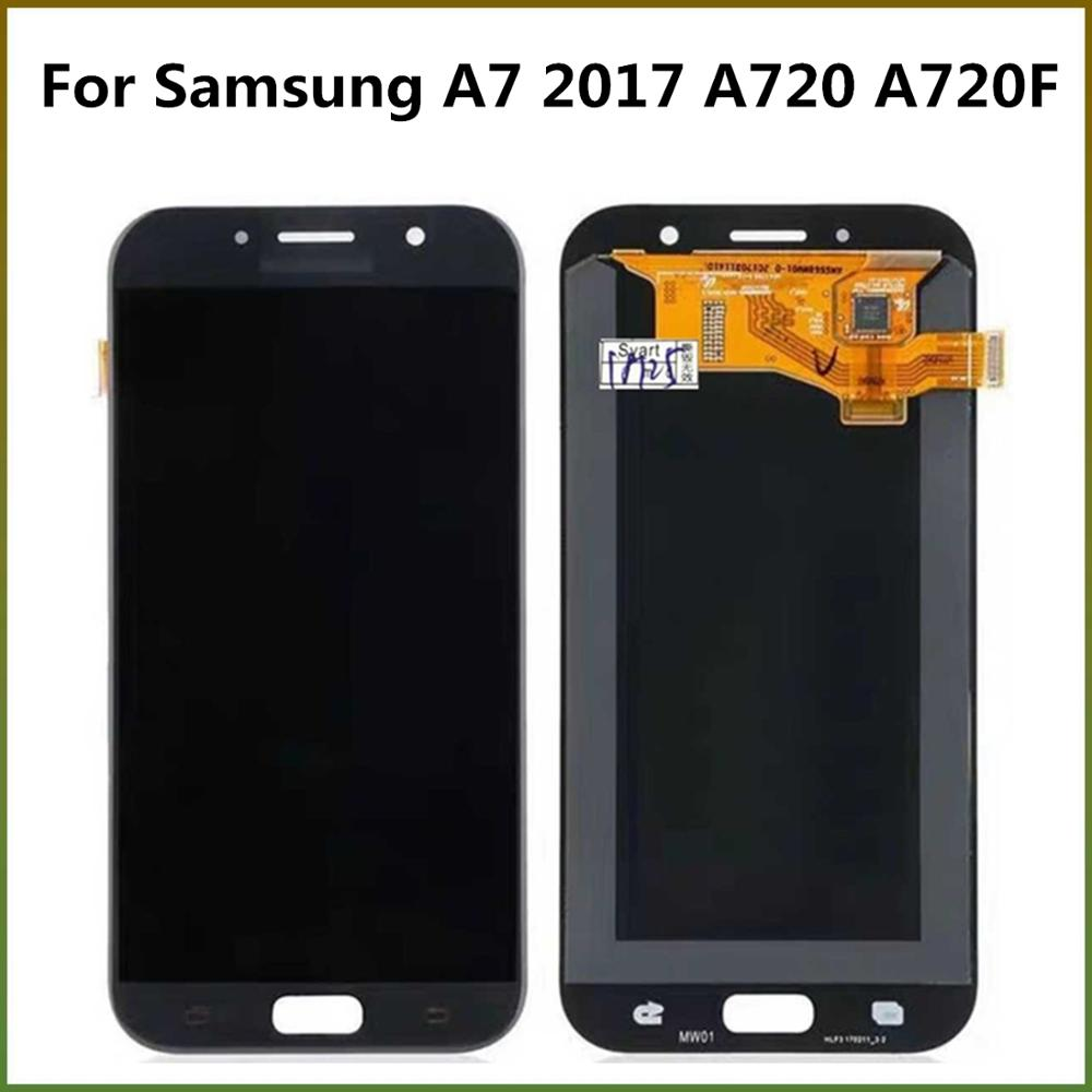 TFT Can Adjustable LCD Display For <font><b>Samsung</b></font> Galaxy A7 2017 <font><b>A720F</b></font> A720 A720M LCD Display Touch <font><b>Screen</b></font> Digitizer Assembly For A720 image