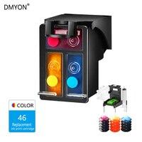 Dmyon CMY Tinta Isi Ulang Cartridge Pengganti HP 46 Deskjet 2025HC 2520HC 2020HC 2029 2529 4729 Printer