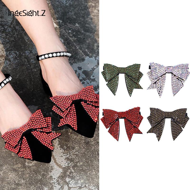 IngeSight.Z 2 Piece Lovely Shoe Decoration Elegant Women Shoe Applique Elastic Belt Anklet for Sandals Flats Jewelry Accessories