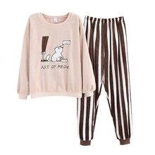 JULYS SONG Fashion Cute Warm Flannel Pajamas Set  Cartoon Women Winter  Pajama Sleepwear Animal Pajamas Thick Warm Sleepwear