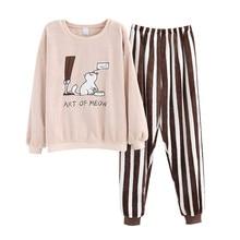 JULYS SONG ensemble de pyjama en flanelle chaude, mignon, vêtement de nuit dhiver pour femme, motif de dessin animé, vêtements de nuit épais et chauds