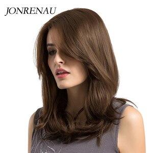 Image 4 - Jonrenau耐熱ロング自然なウェーブヘアー合成茶色の髪かつらのための前髪と白/黒女性