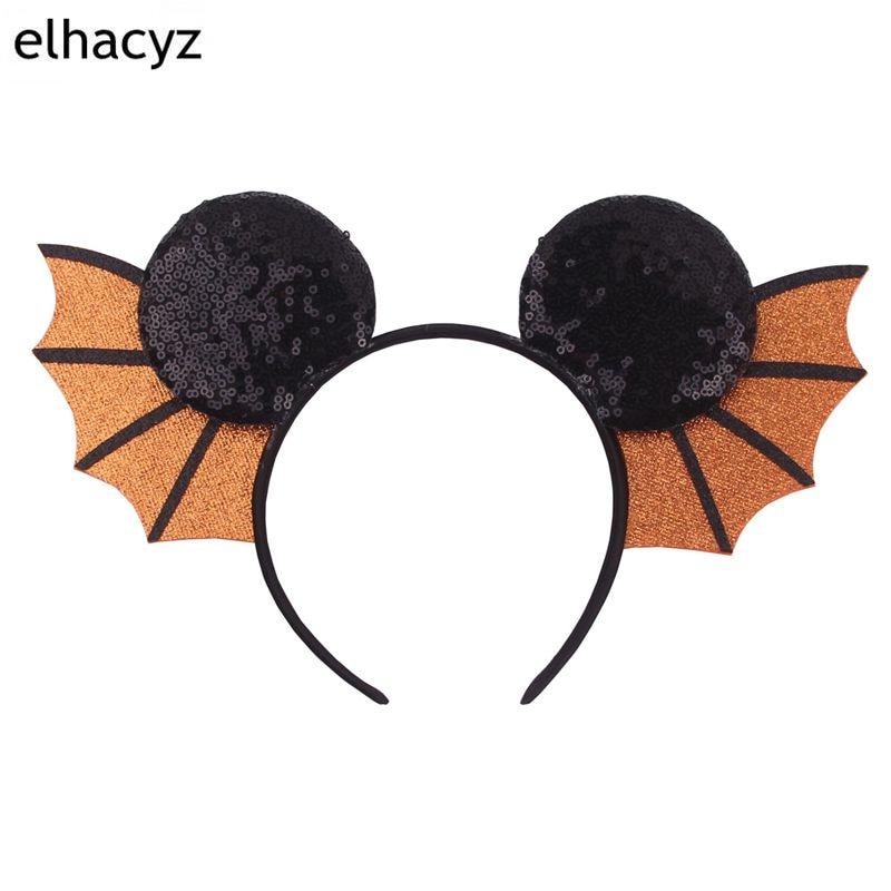 10pcs/lot New Hallowen Bat Wings Hairband For Girls Women Festival 3.3'' Minnie Mouse Ear Headband DIY Boutique Hair Accessories