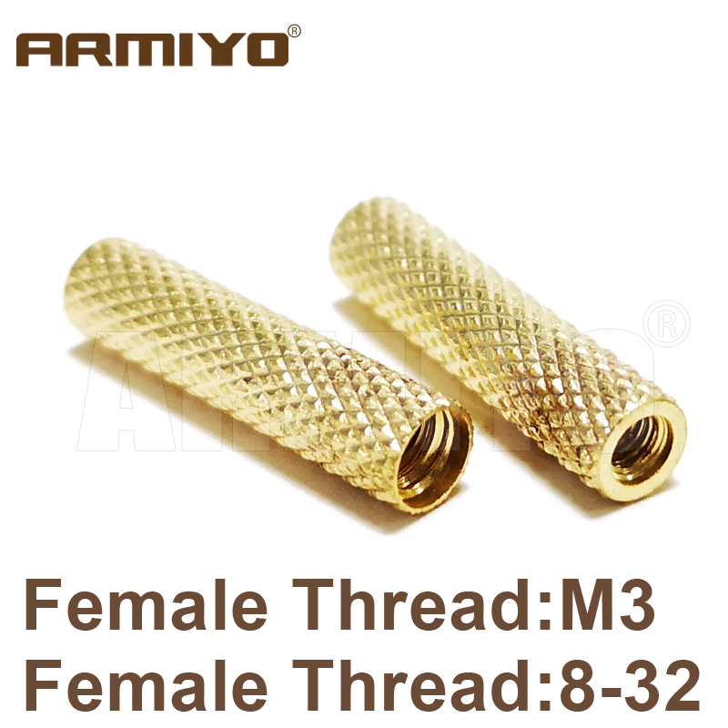 Armiyo 2pcs/lot Solid Brass Female Thread 8-32 / M3 Gun Brush Cleaning Rod Conversion Adapter Tactical Hunting Accessories