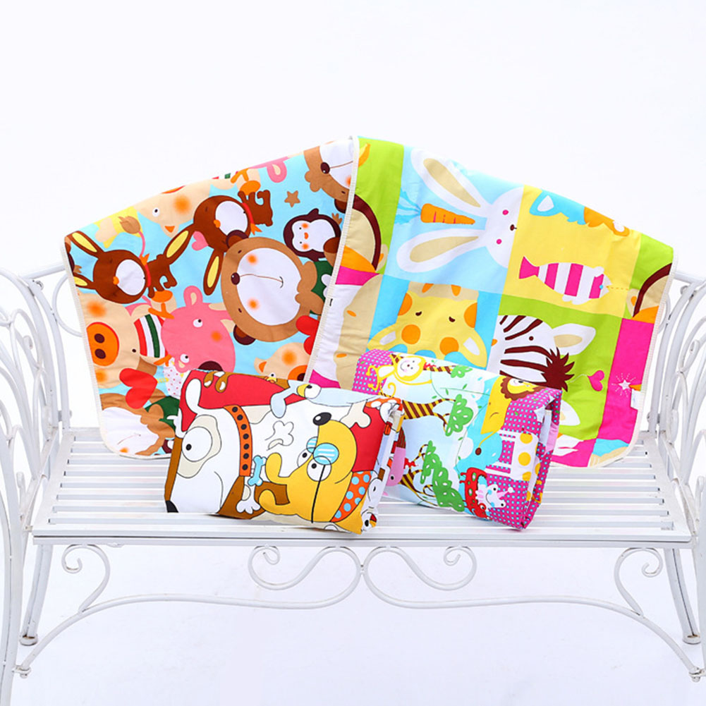 Baby Bed 3-layer Mat Cotton Mattress Infant Changing Pad Waterproof Nappy Sheet Cartoon Printed Diaper Urine Pad Random Color