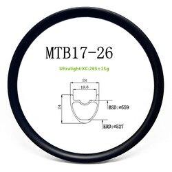 Jante tubeless en carbone de 26 pouces, ultralégère pour vtt XC 24x24mm UD, mat ou brillant, nouveau