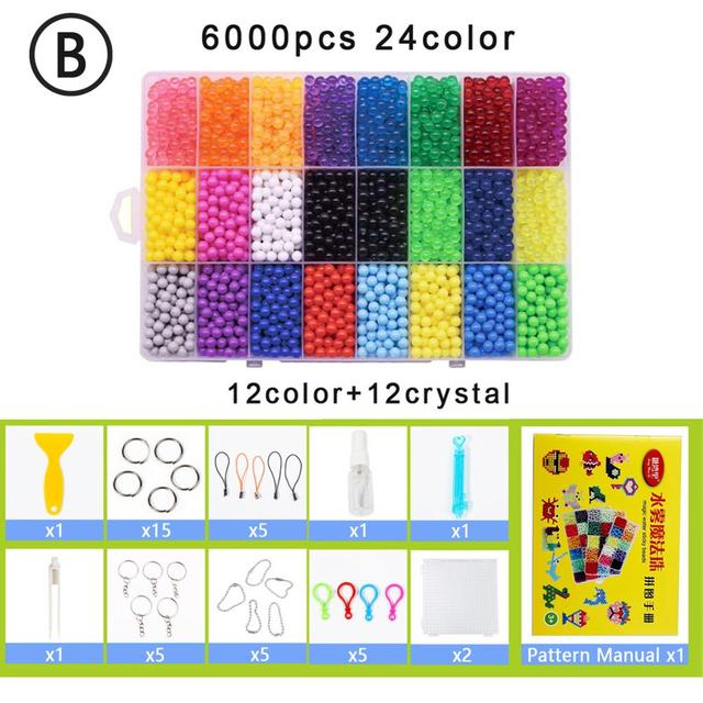 Yantjouet water Magic Sticky Beads 24color/set 6000pcs with accessary Toys for Children Education Brain Aqua Girls Boys