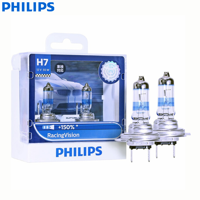 Philips Racing Vision <font><b>H7</b></font> 12V PX26d 12972RVS2 +<font><b>150</b></font>% Brighter Light Auto Halogen Head Light Car Lamps ECE (Twin Pack) image