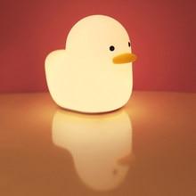 Usb recarregável luz da noite pato silicone luzes da noite sensor de toque quarto lâmpada cabeceira para crianças presente do bebê