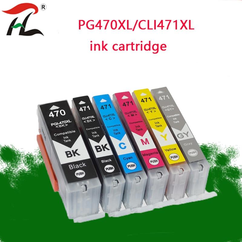 5PK PGI-470 CLI-471 Refilled Ink cartridge For Canon PGI470 CLI471 470 PIXMA MG6840 MG5740 TS5040 TS6040 Printer Compatible with Cartridge MG7740