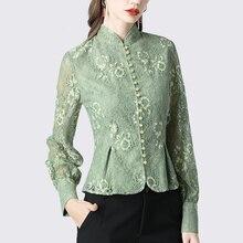 Women Lace Shirt Hollow Out Floral Vintage Top Elegant Slim Peplum Blouses Long