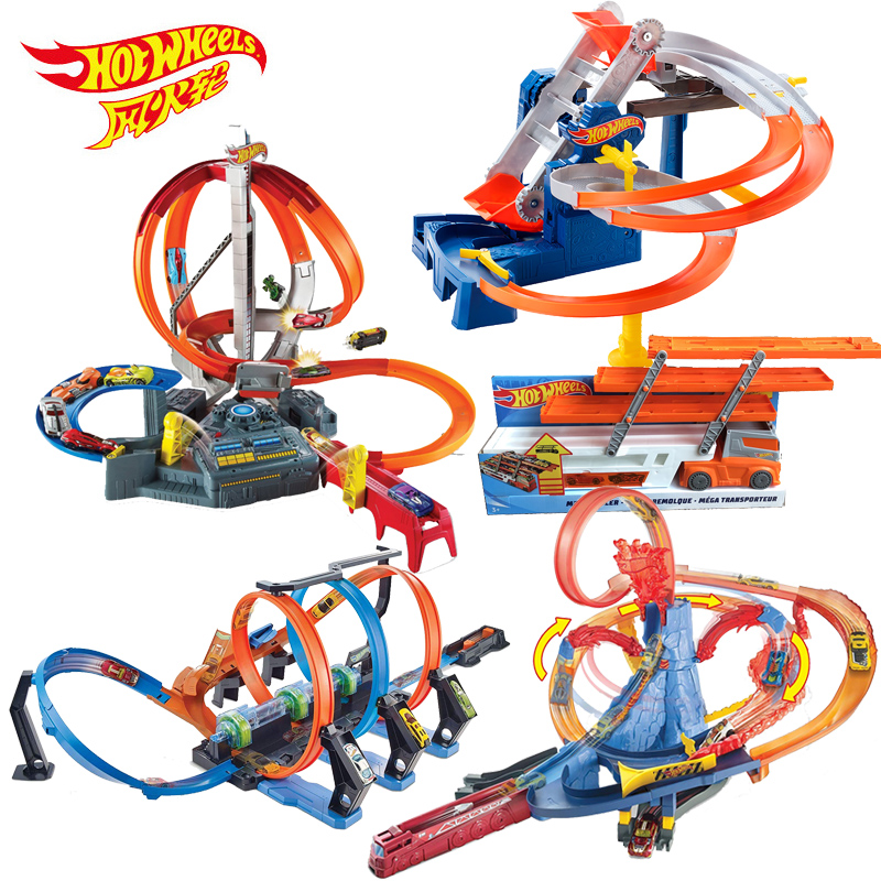 HotWheels Roundabout Track Toy Square City Miniature Car Model Toys For Children Classic For Kids Carros