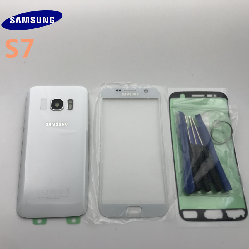 Original Samsung Galaxy s7 G930 SM-G930F Back Glass Cover Rear Battery Cover Door with Camera lens+Front glass lens image