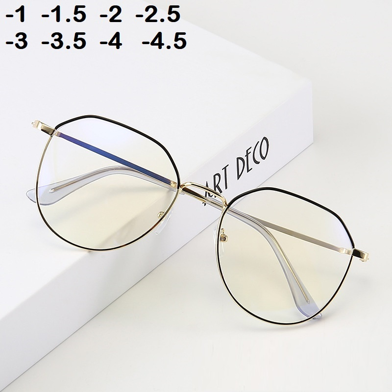 -1 -1.5 -2 -2.5 -3 -3.5 -4 -4.5  Myopia Glasses Women Men Retro Metal Frame Square Students Myopia Glasses Frame For 2020 New
