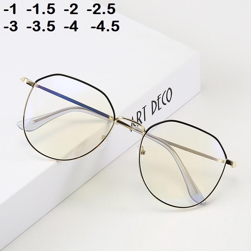 -1 -1.5 -2 -2.5 -3 -3.5 -4 -4.5  Myopia Glasses Women Men Retro Metal Frame Square Students Myopia Glasses Frame For 2020 New