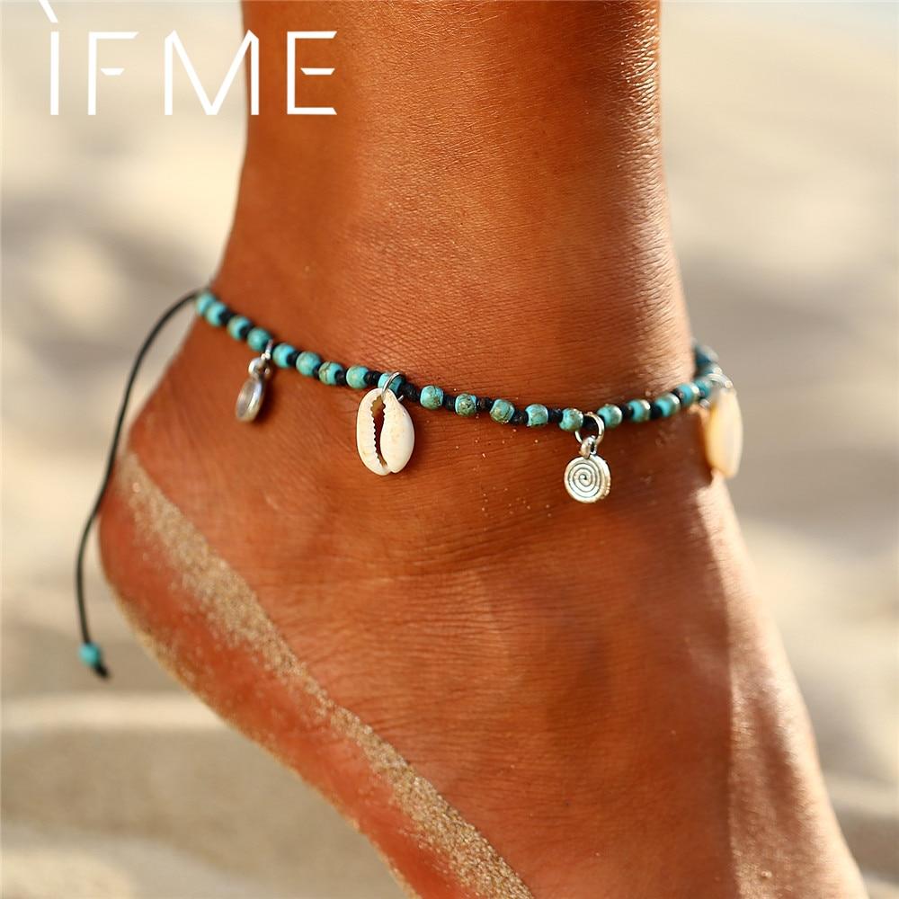 Bohemian Spiral Shell Anklets for Women Vintage adjustable Woven Rope Bracelet on Leg Beaded Anklet Ankle BOHO Jewelry NEW