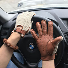 Mans Deerskin Gloves Locomotive Driving Retro Knitted + Leather thin Slim Hand Genuine For Female Male AM032A