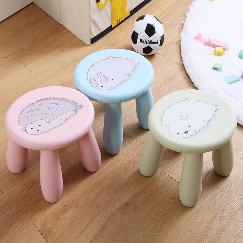 Plastic Cute Stool Padded Children's Small Stool Household Shoes Stool Bathroom Non-slip Chair Adult Tea Table Stool