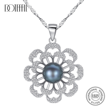 DOTEFFIL Real 925 Silver Necklace Pearl Flower Pendant Women Fashion Jewelry Link Natural Freshwater Pearl Necklace Female Gift бокорезы mr logo усиленные 180 мм